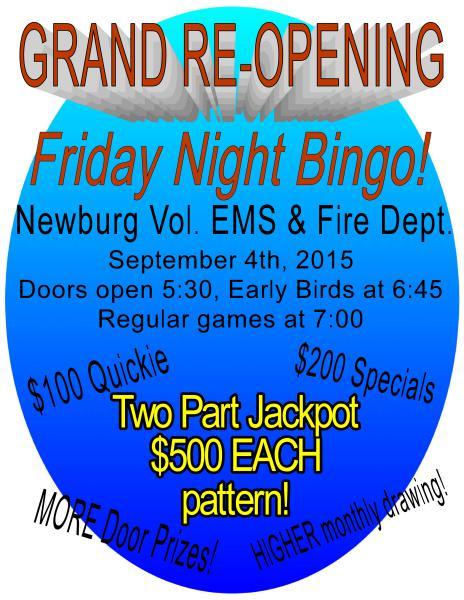 grand re-opening of friday night bingo